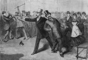 A jaded crowd looks on as President Garfield attempts to break dance